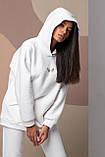 Женский зимний спортивный костюм двойка белый пудровый фисташковый 42-46 48-50 oversize, фото 2