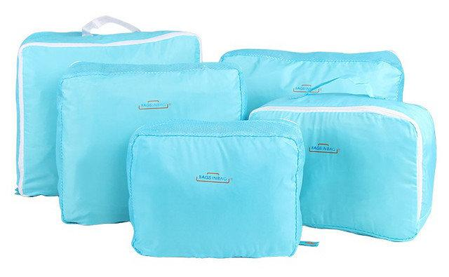 Набір дорожніх органайзерів для речей Bags in bag 5 предметів Блакитний (dsv00081)
