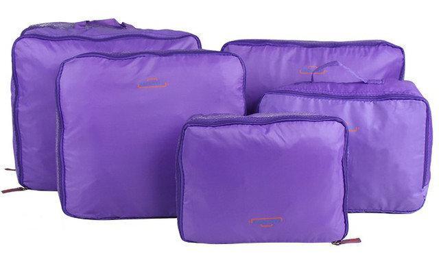 Набір дорожніх органайзерів для речей Bags in bag 5 предметів Фіолетовий (mka00081)