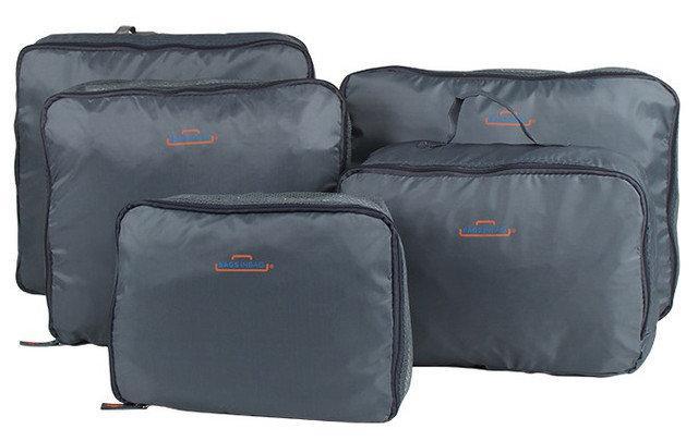 Набір дорожніх органайзерів для речей Bags in bag 5 предметів Сірий (pol00081)