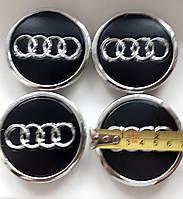 Колпаки заглушки эмблема в титановые диски на авто Aydi комплект 4 шт черные-хром d 70×60mm
