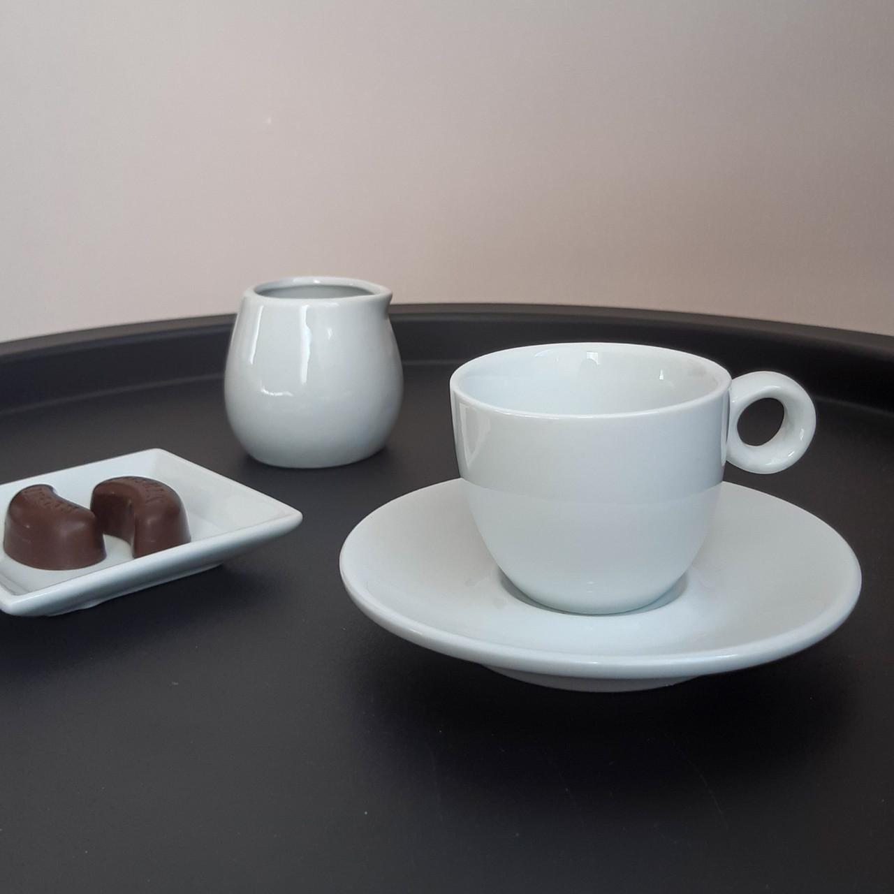 Белая кофейная чашка 80 мл с блюдцем HR1309