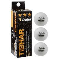 Кульки для настільного тенісу Tibhar 3 *, 3 шт, білий, фото 1