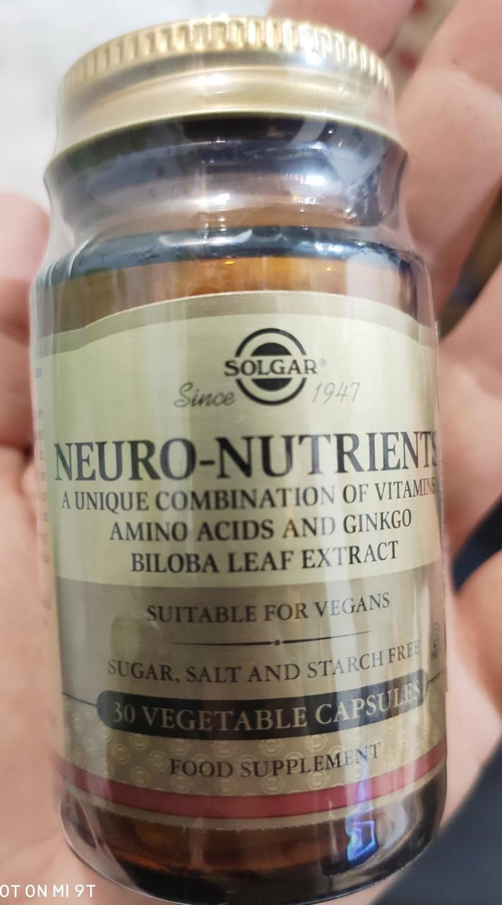 Нейронутриентс капсулы ,30 шт, - комплекс веществ, стимулирующих функции мозга .Солгар / Solgar