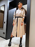 Платье женское тёплое с поясом беж, чёрный, серый 42-46, фото 4