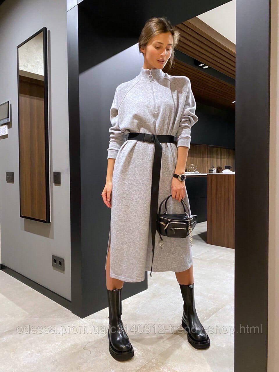 Платье женское тёплое с поясом беж, чёрный, серый 42-46