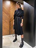 Платье женское тёплое с поясом беж, чёрный, серый 42-46, фото 6