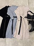 Платье женское тёплое с поясом беж, чёрный, серый 42-46, фото 8