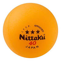 Шарики для настольного тенниса Nittaki 3 шт, 3*, желтый, фото 1