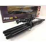 Плойка тройная волна три 3 волны для завивки профессиональная тройная волос Pro Mozer  Mz-6621 ProMozer 18мм, фото 2