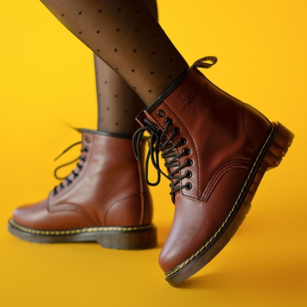 Жіночі черевики Dr Martens Bordo Winter на хутрі зимові бордові