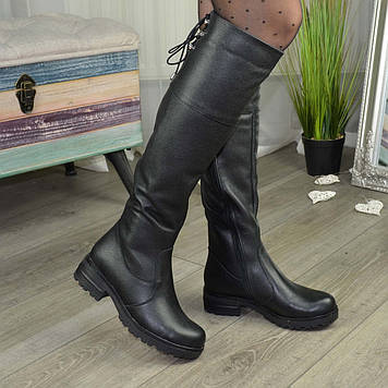 Ботфорты женские черные на утолщенной подошве. Натуральная кожа флотар