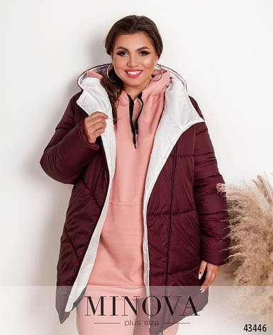 Куртка женская стильная батальная с капюшоном, фото 2
