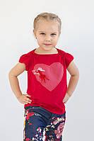 Футболка для девочки ( красная ), красная детская футболка, красная футболка для девочки
