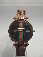 Жіночі годинники Starry Sky Watch на магнітній застібці, рожеві, круглі, кварц, мінеральне скло, нержавіюча