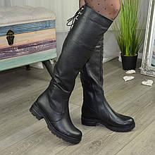 Ботфорты женские черные на утолщенной подошве. Натуралная кожа флотар