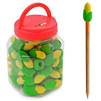 Ластик на карандаш для удаления надписей Кукуруза за 60 шт, разные цвета, нестандартная, ластик, ластик для