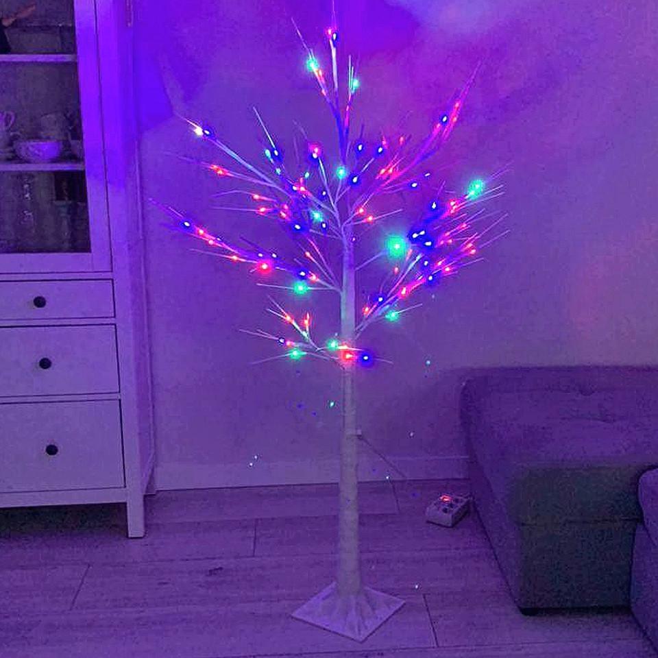 Светодиодное светящееся новогоднее белое дерево Береза 15W1 LED Мультицвет Декоративная гирлянда для дома