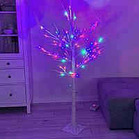 Светодиодное светящееся новогоднее белое дерево Береза 15W1 LED Мультицвет Декоративная гирлянда для дома, фото 1