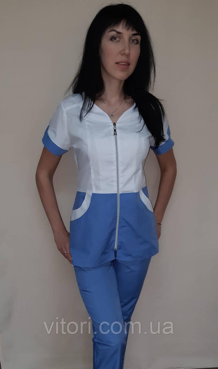 Женский медицинский костюм Жасмин хлопок короткий рукав
