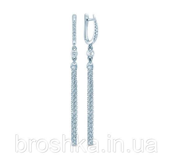 Длинные серебряные серьги цепочки с английской застежкой
