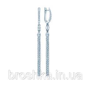 Длинные серебряные серьги цепочки с английской застежкой, фото 2