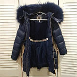 Зимняя куртка пальто для девочки Синий р.104, 122, фото 3