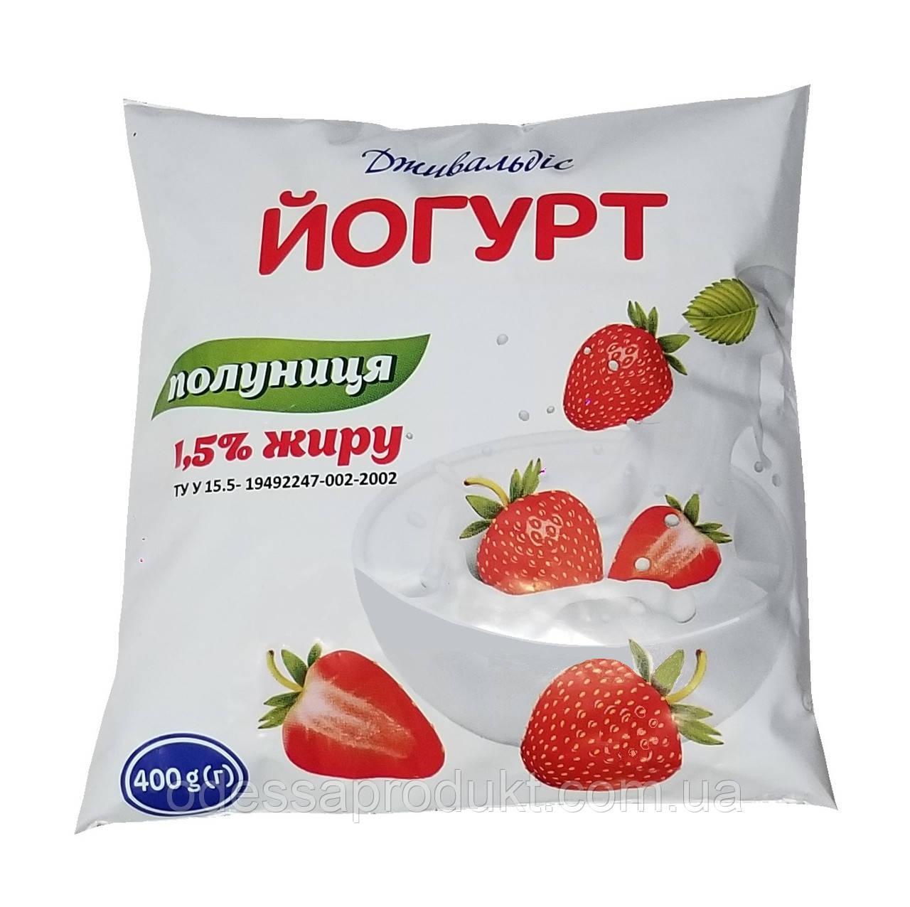 Йогурт 400 г Дживальдис 1,5% клубника п/е
