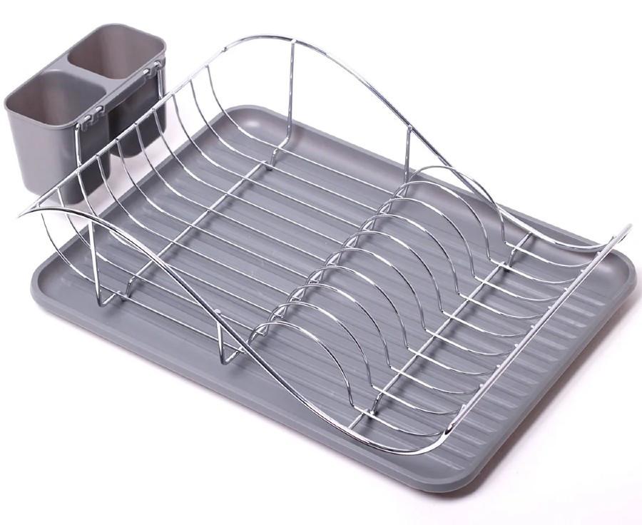Серая сушилка для посуды Kamille 52х32х13см с поддоном