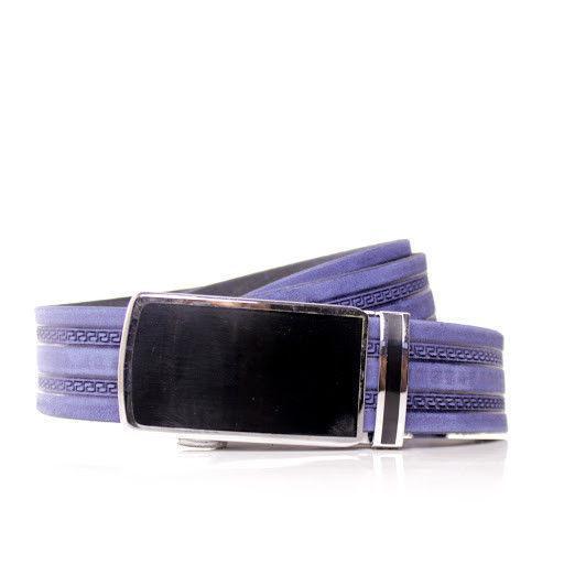 Ремень кожаный Lazar 115-120 см голубой л35в1а3