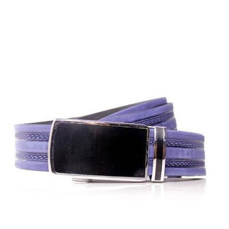 Ремень кожаный Lazar 115-120 см голубой л35в1а3, фото 2
