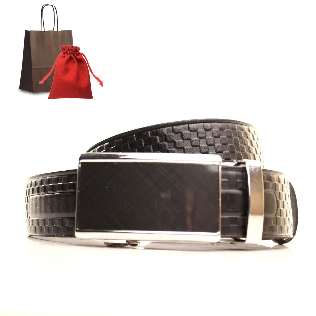 Ремень кожаный Lazar 120-125 см черный L35U1A75-M