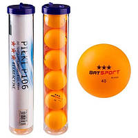 Шарики для настольного тенниса BATSport, 6 шт, оранжевые