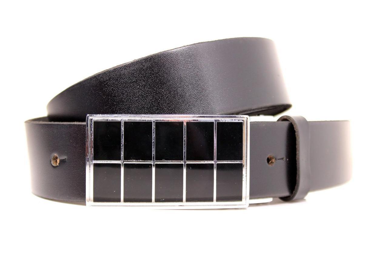 Ремень кожаный Lazar 115-120 см черный Л35Б1Г3