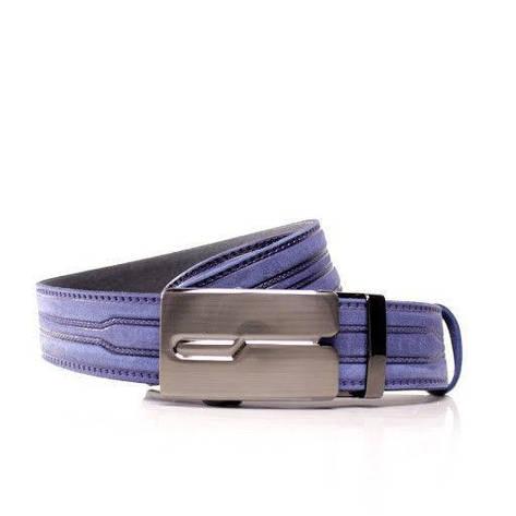 Ремень кожаный Lazar 115-120 см голубой л35в1а36, фото 2
