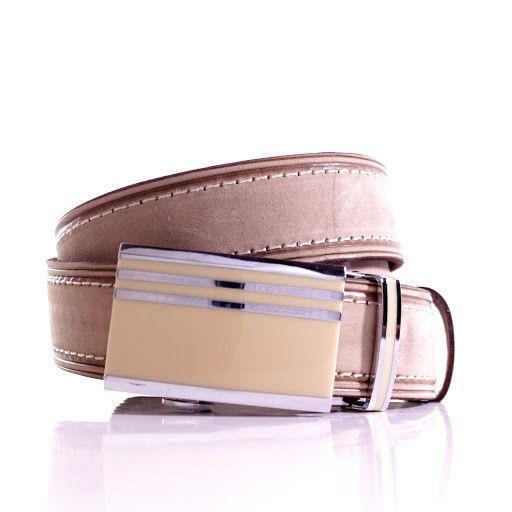 Ремень кожаный Lazar 115-120 см бежевый л35у1а75