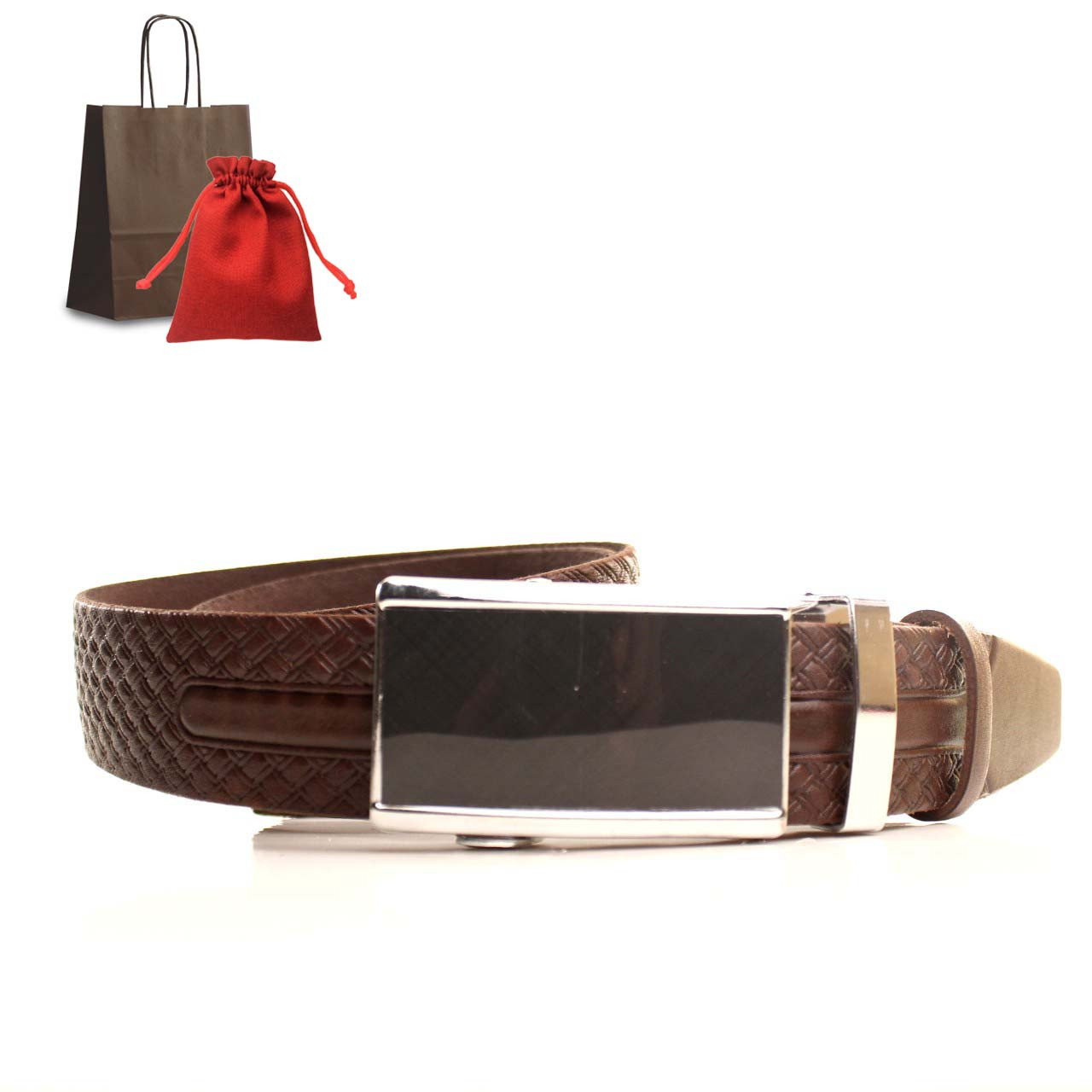 Ремень кожаный Lazar 120-125 см коричневый L35U1A70-M