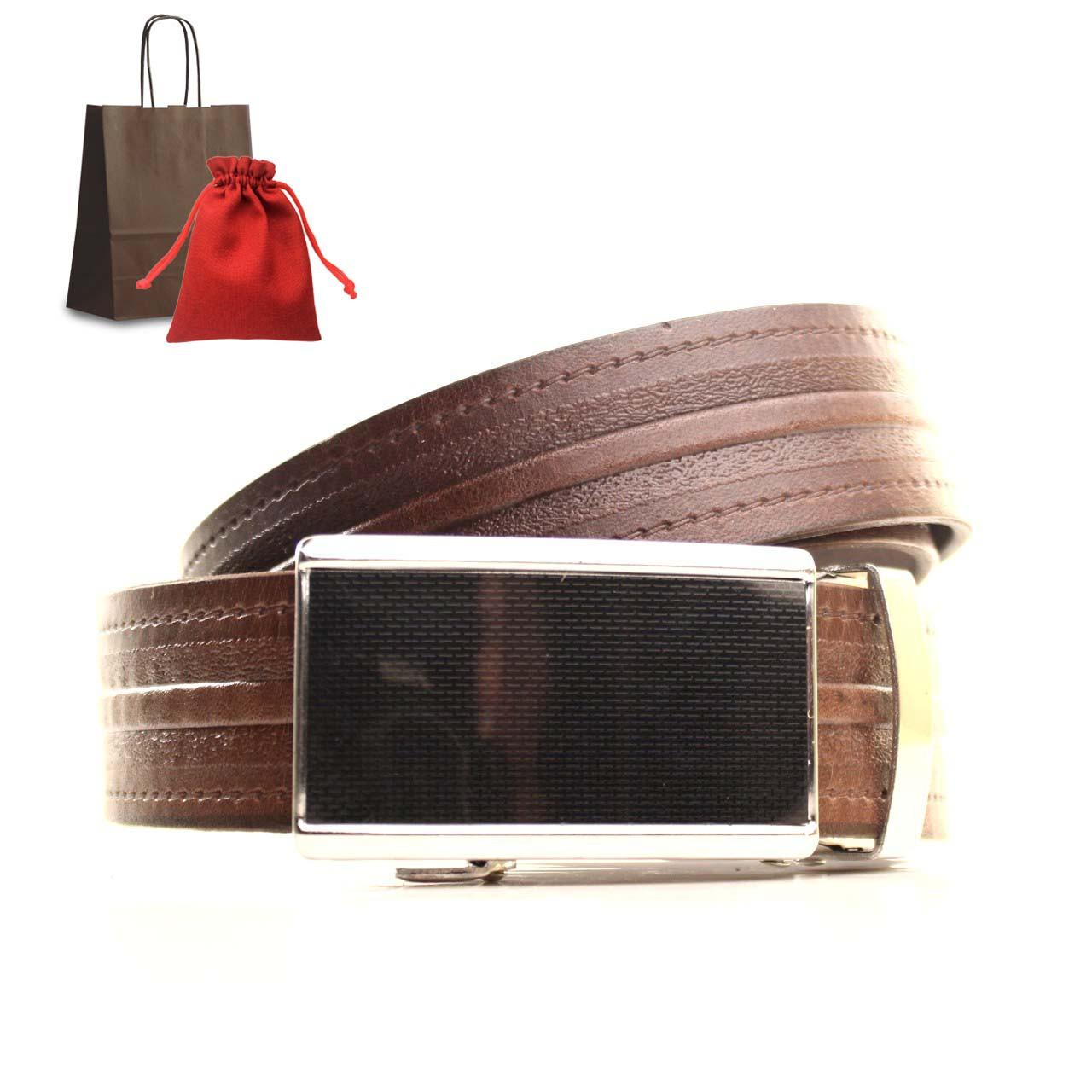 Ремень кожаный Lazar 120-125 см коричневый L35U1A72-M