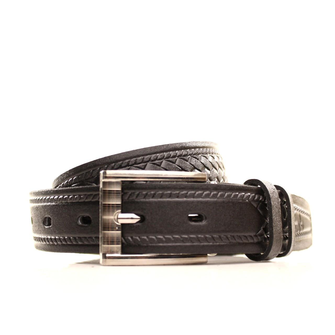 Ремень кожаный Lazar 60-70 см черный l30s3w8