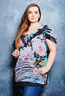 Блузка с воланом цвет черный Карина
