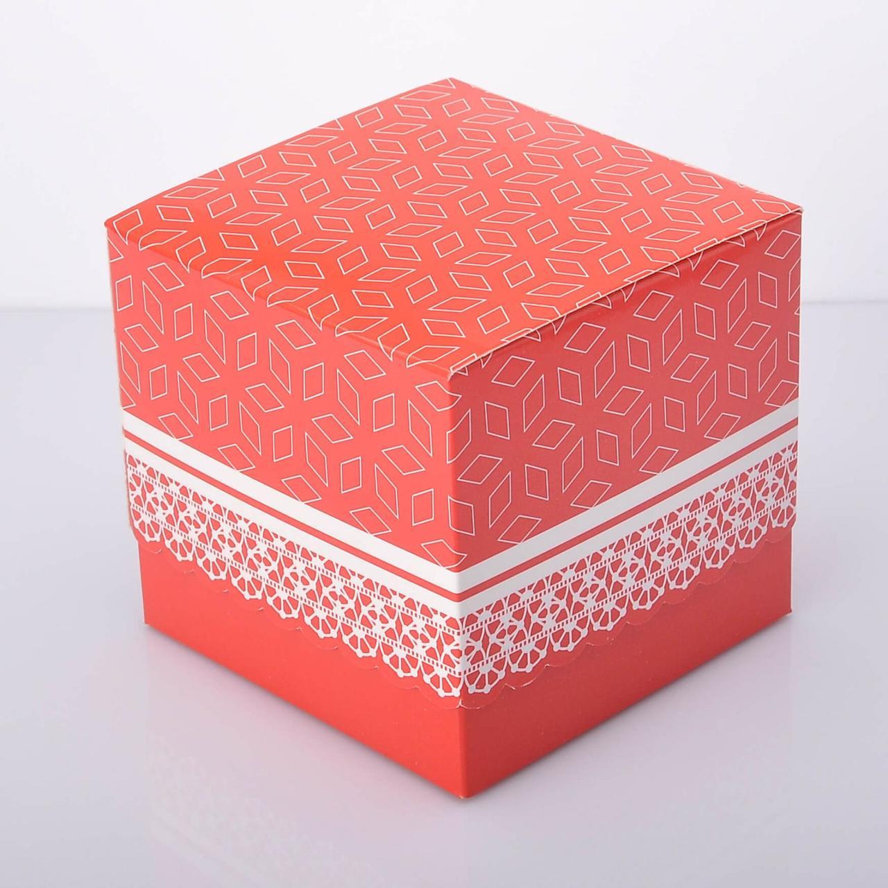 Упаковка для чашек из картона ламинированная с принтом (красная)