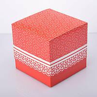 Упаковка для чашек из картона ламинированная с принтом (красная), фото 1
