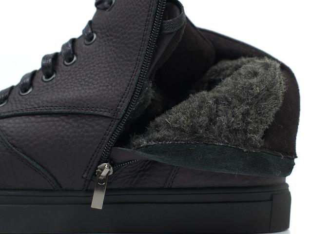 Ботинки мужские зимние черные кожаные на меху на молнии обувь больших размеров Rosso Avangard Ranger Matte