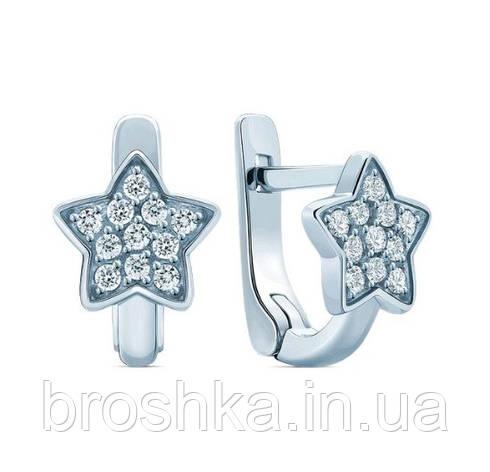Детские серебряные серьги звездочки с английской застежкой, фото 2