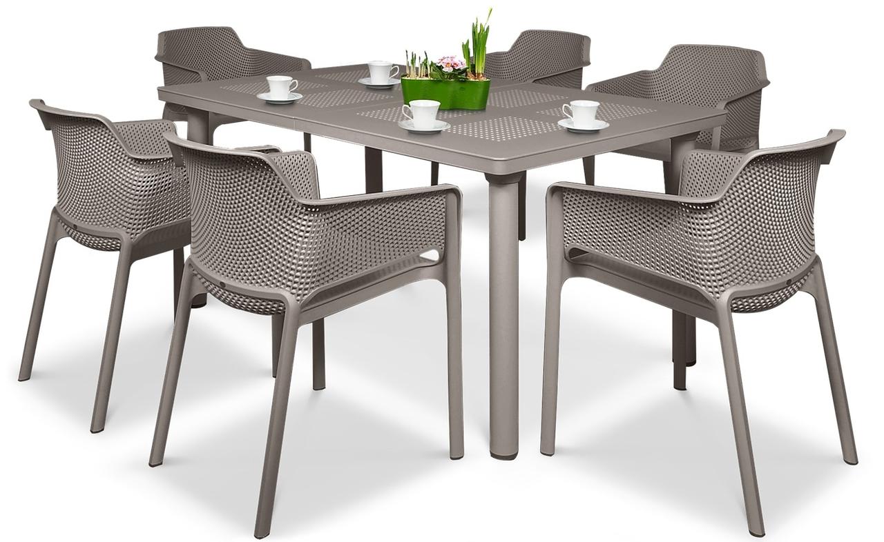 Комплект  Стіл  Libeccio  160-220см + 6 крісел Net  tortora