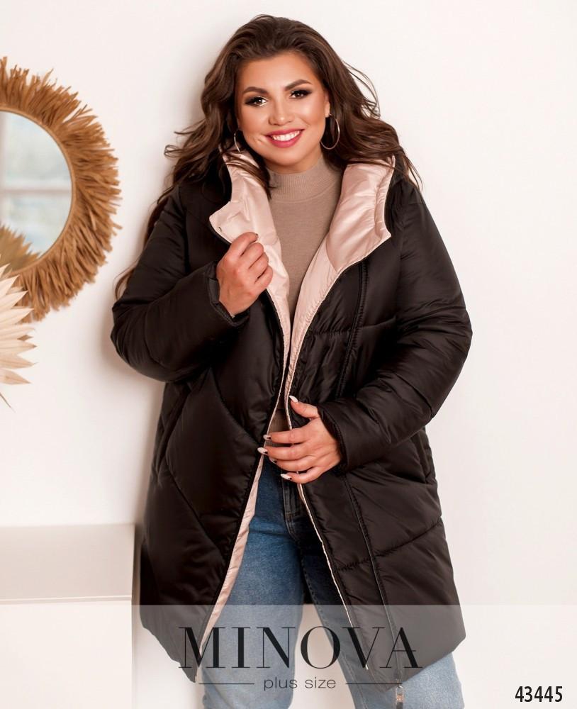 Куртка женская стильная батальная с капюшоном