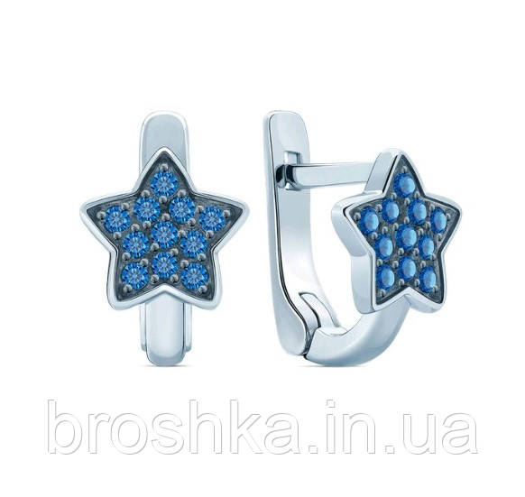 Серьги детские серебро синие звезды