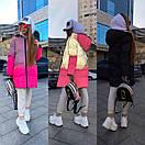 Женский рефлективный двухсторонний пуховик Черный / Розовый, фото 5