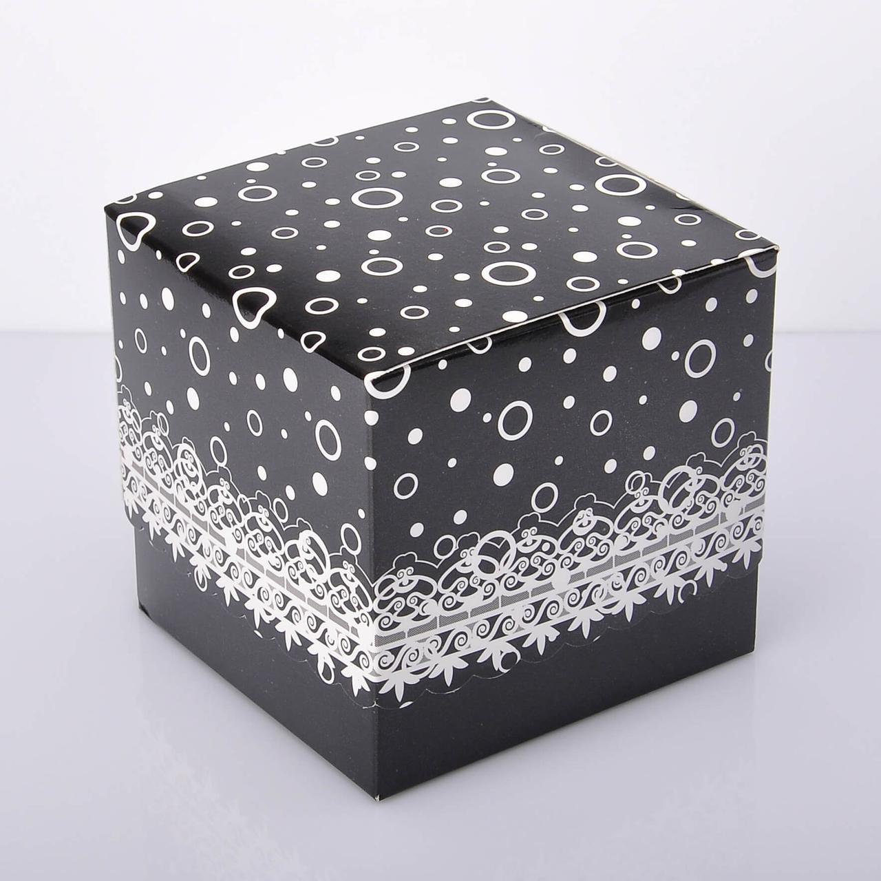 Упаковка для чашек из картона ламинированная с принтом (черная)