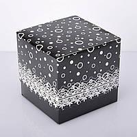 Упаковка для чашек из картона ламинированная с принтом (черная), фото 1